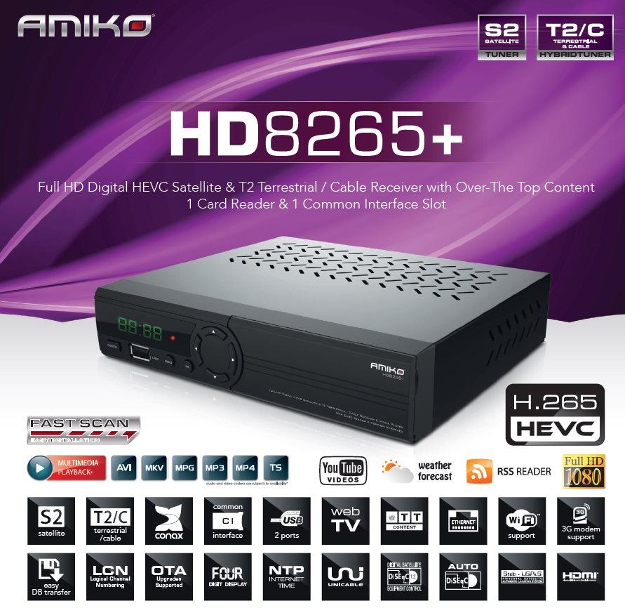 c50fa64f7 Satelitný prijímač DVB-S/S2/T2/C Amiko HD 8265+ Combo CI slot, H.265 ...